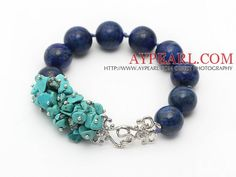 New Design Turquoise Chips and Round Lapis Knotted Bracelet