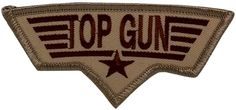 "[Single Count] Custom and Unique (3 3/4"" by 2"" Inches) Desert Top Gun Iron On Embroidered Applique Patch {Hues of Brown}"