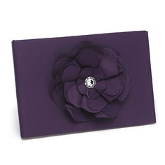 Black Floral Fantasy Wedding Guest Book covered in black satin. The front cover is decorated with a large, layered flower adornment made of black satin and black french netting. The center of the flower is decorated with a large, faux rhinestone gem. Discount Wedding Invitations, Plum Wedding, Saree Wedding, Purple Satin, Dark Purple, Black Satin, Black White, Ring Pillows, Fantasy Wedding