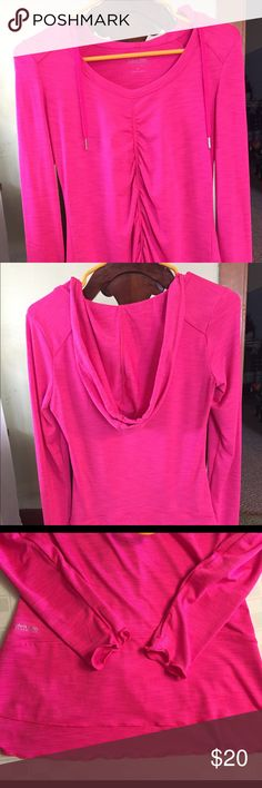 Adorable Calvin Klein top Dress it up or wear for workouts!  Lettuce edging on sleeves and hem, beautiful draped, detailed front, thumb hole sleeves, only worn a few times. Calvin Klein Tops
