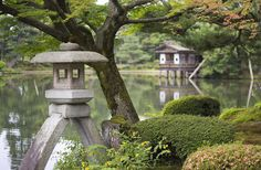 """Kenroku-en (兼六園) means """"garden which combines six characteristics"""" – the six aspects considered important in the notion of an ideal gardens: spaciousness serenity venerability scenic views subtle design coolness Kanazawa, Japanese Tea House, Stone Lantern, Japan Garden, Island Nations, Top Travel Destinations, Art And Architecture, Where To Go, Cool Places To Visit"""