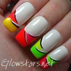 neon nail art tips