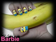 Minion Nails - Minion shaped nail design, Cute yellow characters from the animated movie Despicable Me. Diy Nails, Cute Nails, Minion Nail Art, Teen Nails, Mack Up, Funky Nails, Creative Nails, Cool Nail Designs, Gorgeous Nails