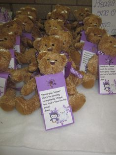 Teddy bear favors at a Winter Onederland Party #winter #partyfavors