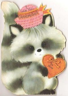 Vtg 60's Retro Raccoon Children's Valentines Day Greeting Card Die Cut Hallmark | eBay