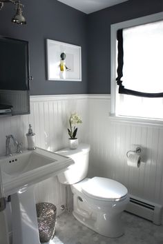 A Half Bath Laundry Room Reveal - blogger homes.  Love this color scheme to replace the purple bath