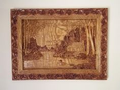 Custom Wood Carved Log Cabin Decor: Peaceful. Majestic. Retirement. Quiet. Hunting Cabin. Weekend Getaway. So many ways to describe this incredible piece of artwork! This is a magnificent piece of 3D relief carving of a log cabin in the woods. It would look amazing over the fireplace, in the den, in the basement or at the cabin. You can also special order this design in a different wood type and/or stain preference. We specialize in unique wood gifts and decorating ideas.