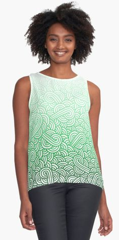 """""""Gradient green and white swirls doodles"""" Contrast Tank by @savousepate on @redbubble #pattern #abstract #modern #graphic #geometric #irish #stpatricksday #saintpatricksday #green #ombre #gradient #tanktop #apparel #clothing #fashion"""