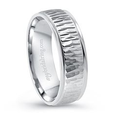 Unique Wood Design Engagement Band In 14K White Gold - Amazing Wood Finish - OUR PRICE: $859.99 - http://www.mybridalring.com/Mens/unique-wood-design-engagement-ring-in-14k-white-gold/