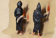 MICHAËL BORREMANS: BLACK MOULD AT DAVID ZWIRNER http://www.widewalls.ch/michael-borremans-black-mould-exhibition-at-david-zwirner-london/ #Painting #Surreal #OilOnCanvas #Cult #Sect