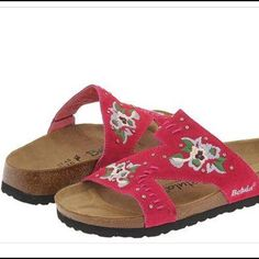 Betula Birkenstocks! Betula Birkenstocks! Pink Zara style! beautiful Pink floral embroidered suede with crystals! Comfortable Cork footbed suede lined. Betula licensed by Birkenstock. Great condition! 260  Ladies size 9 Birkenstock Shoes Sandals
