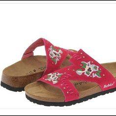 913f9fa21 Betula Birkenstocks! Betula Birkenstocks! Pink Zara style! beautiful Pink  floral embroidered suede with
