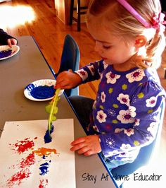 Painting with celery sticks - Stay At Home Educator.