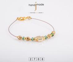 Γυναικείο βραχιόλι με κρύσταλλα και χρυσό σταυρό.ητικό με στράς. #handmade #jewelry #fashion
