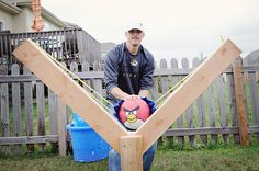 Check out this awesome sling shot for the real life angry birds game! Would be fun with water balloons and have the kids be the pigs (felt masks).