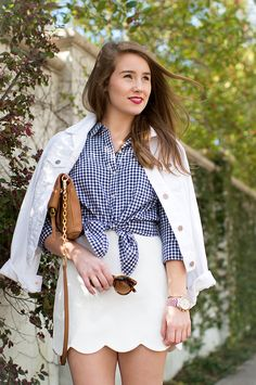 Gingham and Scalloped Skirt | spring style | spring fashion | how to style a scalloped skirt | fashion for spring | style for spring | warm weather fashion || a lonestar state of southern