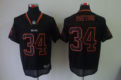 black Walter Payton jersey, Chicago Bears #34 lights out elite Jersey