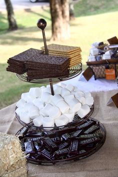 The stuff for the S'mor… S'mores – smores Themed Camping Birthday Party. The stuff for the S'mores looks so nice on that tiered tray. Fall Birthday, Boy Birthday, Birthday Parties, Bonfire Birthday Party, Birthday Ideas, Fall Bonfire Party, Bonfire Ideas, Fall Harvest Party, Birthday Stuff