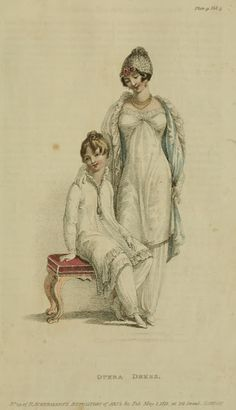 White gowns/tunics for lady and child 1811 Ackermann