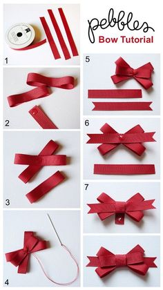 "Ways To Make Fancy Bows ""Back To School Cards with Bow Tutorial - Pebbles, Inc."", ""Bow Tutorial by Mendi Yoshikawa Yoshikawa"", ""Best bow tutorials - Diy Ribbon, Ribbon Crafts, Ribbon Bows, Paper Crafts, Ribbons, Ribbon Flower, Hair Bow Tutorial, Flower Tutorial, Pouch Tutorial"