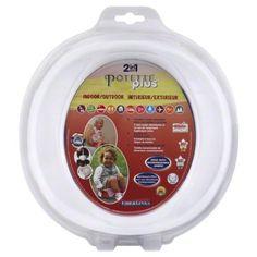 WHITE Potette Plus Port-A-Potty Training potty travel toilet Seat - 2 in 1 Potette® Plus - Best travel potty seat!