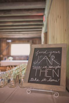 DIY Budget-friendly Barn Wedding I would leave the chalkboard part blank and provide chalk for them to write their own name Diy Wedding Reception, Farm Wedding, Wedding Themes, Wedding Favors, Wedding Ideas, Wedding Bells, Wedding Stuff, Baby Shower Fun, Baby Shower Parties