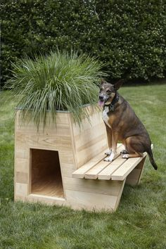 Amazing Dog Houses For Outdoors And Indoors [The Best] - Dog House Plans - Chien Pallet Dog House, Dog House Plans, House Dog, Dog House With Porch, Luxury Dog House, Wooden Dog House, Large Dog House, Dog Yard, Cool Dog Houses