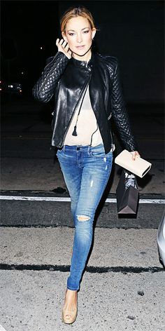 Leather jacket and ripped jeans. Faves!