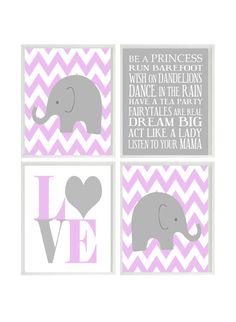 Nursery Art Elephant Chevron Baby Girl Nursery Prints, Gray Purple Lavender Wall Art  Love -  Nursery Decor Playroom Rules Quote - 4 8x10