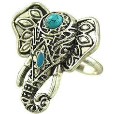 Silver Boho Turquoise Elephant Carved Ring ($4.99) ❤ liked on Polyvore featuring jewelry, rings, accessories, silver, adjustable silver rings, turquoise ring, boho rings, silver turquoise jewelry and silver rings