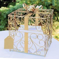 Our Gold Gift Card holder is a decorative and practical place for guests to put their cards and monetary gifts at the reception.