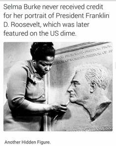 A artista negra que esculpio o rosto do presidente Roosevelt e esta escultura foi usada rm moeda ameticana