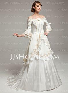 Wedding Dresses  A-Line/Princess Off-the-Shoulder Sweep Train Taffeta Satin Wedding Dress With Lace Beadwork Flower(s) (002017530) http://jjshouse.com/A-Line-Princess-Off-The-Shoulder-Sweep-Train-Taffeta-Satin-Wedding-Dress-With-Lace-Beadwork-Flower-S-002017530-g17530