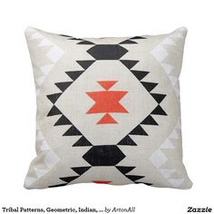 Tribal Patterns, Geometric, Indian, Native, Wester Throw Pillow