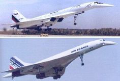Comparative photo of the Russian Tupolev Tu-144 and the Concorde supersonic passenger jets.