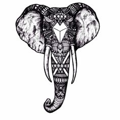 My first tattoo design- Detailed elephant sketch for just below my left ankle. Excited :)))