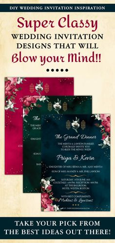 This Royal Jewel Tones Wedding invitation set is perfect for you if you are looking for printable wedding invite and easy-to-customize editable template downloads for your Arabic Invitations!This DIY Emerald Green Wedding suite invitation with White Flowers includes a digital invitation download each for any 3 of your functions for your Modern Arabic Wedding card template, be it a Sangeet, Wedding, Nikah or Reception! Diy Wedding Stationery, Classy Wedding Invitations, Wedding Invitation Inspiration, Wedding Invitation Design, Wedding Inspiration, Wedding Card Templates, Wedding Card Design, Wedding Cards, Arab Wedding