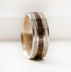 Image of 10k Gold ring with Desert Ironwood and Antler inlays- awesome handmade men's wedding bands