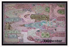 Vintage Tapestry Indian Handmade Beads Embroidered Patchwork Wall Hanging Art #Handmade #ArtDecoStyle Hanging Art, Tapestry Wall Hanging, Handmade Beads, Table Covers, Art Deco Fashion, Textile Art, Textiles, Indian, Quilts