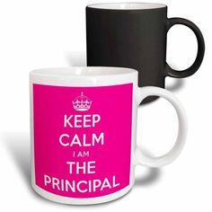 3dRose Keep Calm I Am The Principal Pink, Magic Transforming Mug, 11oz