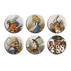"ALICE IN WONDERLAND Pin Badges Vintage Metal Button Set of Six - 1"" / 25mm #aliceinwonderland #madhatter #teaparty #cheshirecat"