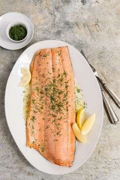 Milk Street Kitchen Oven-Poached Salmon with Thyme, Dill and Vermouth from Christopher Kimball's Milk Street Trout Recipes, Salmon Recipes, Seafood Recipes, New Recipes, Cooking Recipes, Favorite Recipes, Seafood Meals, Amazing Recipes, Seafood