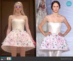 Chanel's structured strapless dress on Scream Queens.  Outfit Details: http://wornontv.net/54766/ #ScreamQueens