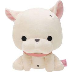 white Toromi French Bulldog with collar plush toy