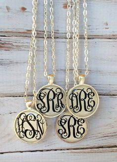 Monogram necklace - Monogrammed gifts - Personalized Jewelry - Monogram - Bridesmaid Gift Initial Necklace Keepsake Monogrammed Necklace