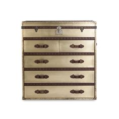 Timothy Oulton travel-inspired trunk with vintage style, in solid timber with oxidised brass veneer and studding.