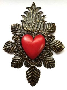 Sacred heart to cover my skull tart and flowers around it! Mexico Art, Tin Art, Heart Of Jesus, I Love Heart, Fire Heart, Mexican Folk Art, Sacred Art, Heart Art, Religious Art