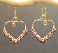 """Amethyst Gemstone Drop Earrings - Hammered wrapped drops with amethyst, about 1-1/2"""" long. Available in 14k gold filled or sterling silver. $86.00  - See more at: http://www.wholesouljewelry.com/amethyst-hammered-drop-earrings/"""