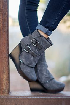Why Don't We Just Wedge Double Buckled Wedge Booties (Grey) - NanaMacs.com - 1