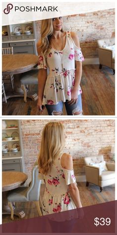 """Cream Floral Cold Shoulder Tunic Modeling size small   96% Rayon 4% Spandex  BUST: S-18"""", M-19"""", L-20"""".  LENGTH: S-26.5/28.5"""", M-27.5/29.5"""", L-28.5/30.5"""".  IRPD11070202.2687P Infinity Raine Tops Tunics"""